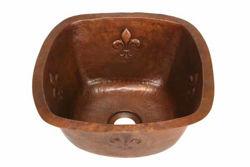 "Picture of 15"" Copper Bar Sink w/Rounded Edge - Fleur de Lis by SoLuna"
