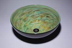 Picture of Blown Glass Sink - Aqua Green Vortex