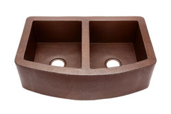 """Picture of 33"""" Rounded Front Copper Farmhouse Sink - 50/50 by SoLuna"""