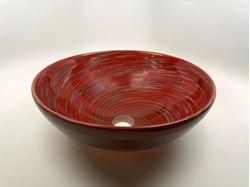 Picture of Blown Glass Sink - Crimson Grey Swirl